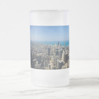 Chicago From Above Frosted Glass Beer Mug