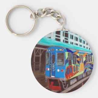 Chicago Graffiti El Train Basic Round Button Keychain