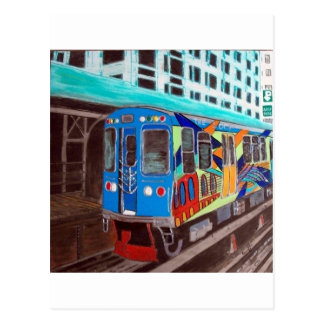 Chicago Graffiti El Train Postcard