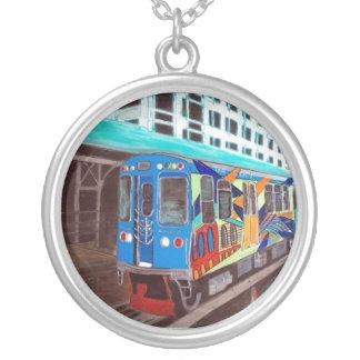 Chicago Graffiti El Train Round Pendant Necklace