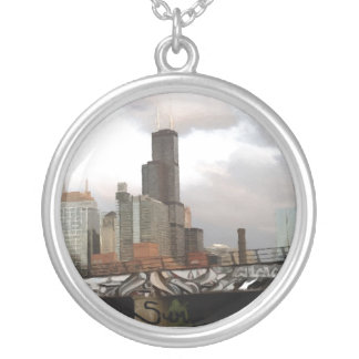 Chicago Graffiti Skyline Round Pendant Necklace