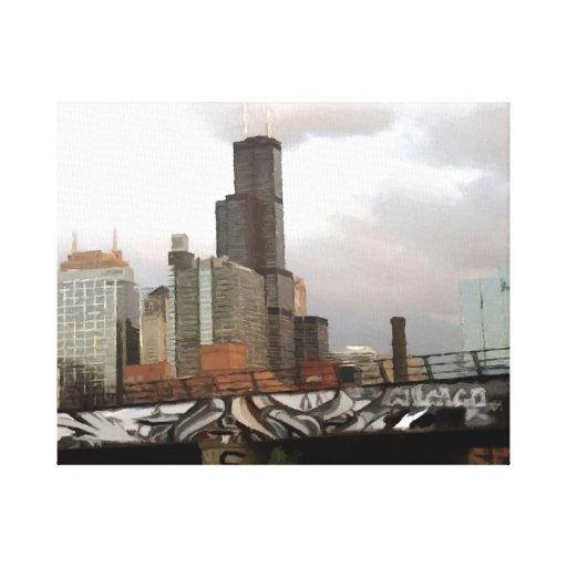 Chicago Graffiti Skyline Stretched Canvas Prints | Zazzle