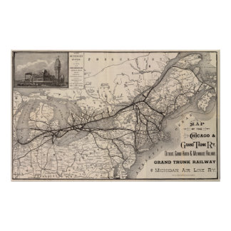 Chicago Grand Trunk Railway Map 1887 Poster