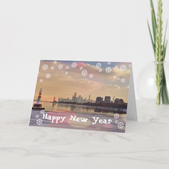chicago happy new year holiday card