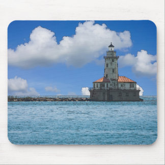 Chicago Harbor Lighthouse Painterly Mouse Pad