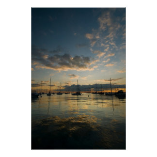 Chicago Harbor Sunrise Poster