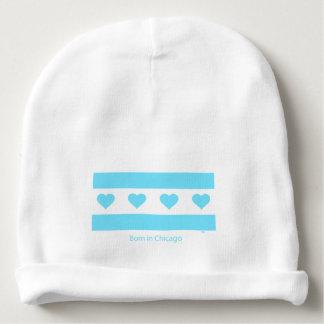 Chicago Heart Flag - Born in Chicago - Blue Baby Beanie