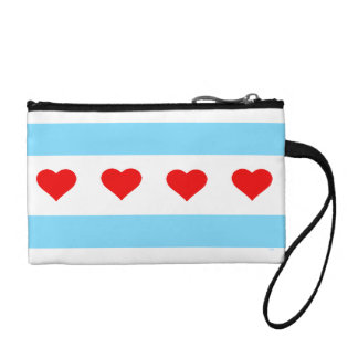 Chicago Heart Flag clutch bag with wrist strap
