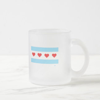 Chicago Heart Flag frosted glass mug