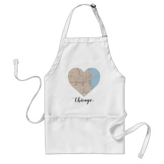 Chicago Heart Map Adult Apron