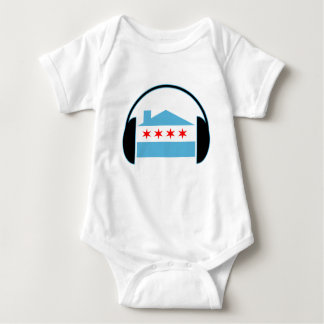 Chicago House Flag Headphones Baby Bodysuit