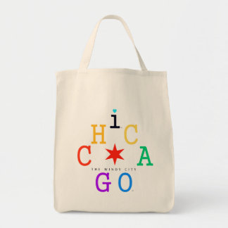 Chicago, Iconic rainbow & Red Star, The Windy City Tote Bag