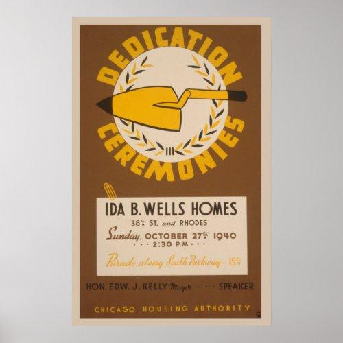 Chicago Ida B Wells Dedication WPA Vintage Poster