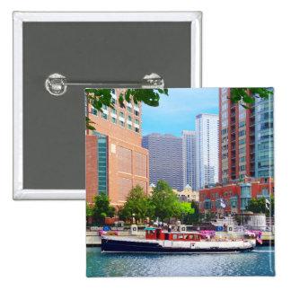 Chicago IL - Chicago River Near Centennial Fountai 2 Inch Square Button