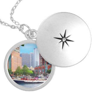 Chicago IL - Chicago River Near Centennial Fountai Locket Necklace