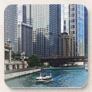 Chicago IL - Chicago River Near Wabash Ave. Bridge Beverage Coasters