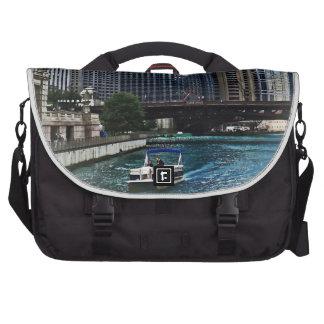 Chicago IL - Chicago River Near Wabash Ave. Bridge Bag For Laptop
