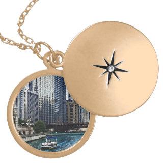 Chicago IL - Chicago River Near Wabash Ave. Bridge Locket Necklace