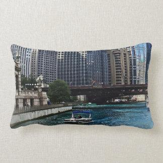 Chicago IL - Chicago River Near Wabash Ave. Bridge Lumbar Pillow
