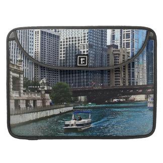 Chicago IL - Chicago River Near Wabash Ave. Bridge MacBook Pro Sleeves