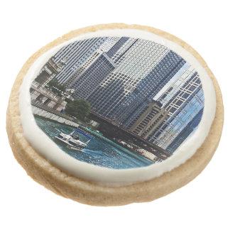 Chicago IL - Chicago River Near Wabash Ave. Bridge Round Premium Shortbread Cookie