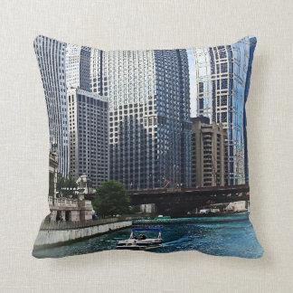 Chicago IL - Chicago River Near Wabash Ave. Bridge Throw Pillow