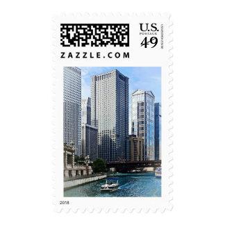 Chicago IL - Chicago River Near Wabash Ave. Bridge Postage Stamp