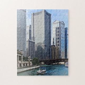 Chicago IL - Chicago River Near Wabash Ave. Bridge Jigsaw Puzzle