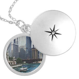 Chicago IL - Chicago River Near Wabash Ave. Bridge Silver Plated Necklace