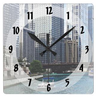 Chicago IL - Chicago River Near Wabash Ave. Bridge Square Wall Clock