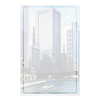 Chicago IL - Chicago River Near Wabash Ave. Bridge Stationery