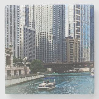 Chicago IL - Chicago River Near Wabash Ave. Bridge Stone Coaster