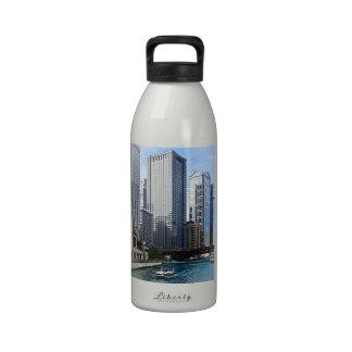 Chicago IL - Chicago River Near Wabash Ave. Bridge Reusable Water Bottle