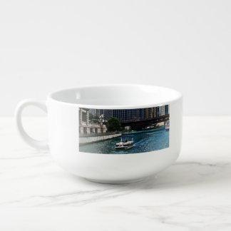 Chicago IL - Chicago River Near Wabash Ave. Bridge Soup Mug