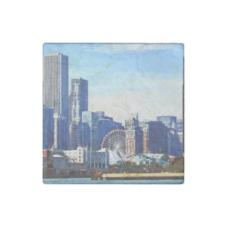 Chicago IL - Chicago Skyline and Navy Pier Stone Magnet