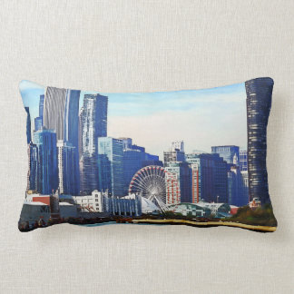 Chicago IL - Chicago Skyline and Navy Pier Lumbar Pillow