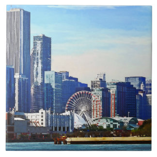 Chicago IL - Chicago Skyline and Navy Pier Tile
