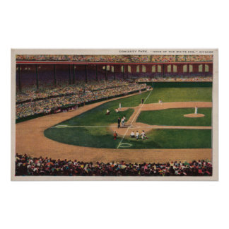 Chicago, IL - Comiskey Park, Home Plate, Basebal Poster
