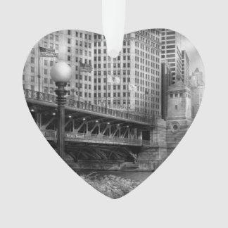 Chicago, IL - DuSable Bridge built in 1920  - BW