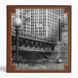 Chicago, IL - DuSable Bridge built in 1920  - BW Vinyl Binders