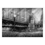Chicago, IL - DuSable Bridge built in 1920  - BW Card
