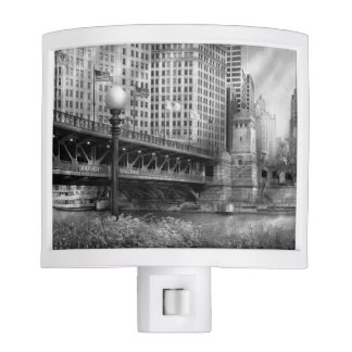 Chicago, IL - DuSable Bridge built in 1920  - BW Night Lights