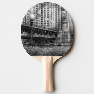 Chicago, IL - DuSable Bridge built in 1920  - BW Ping-Pong Paddle