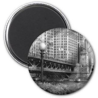 Chicago, IL - DuSable Bridge built in 1920  - BW Refrigerator Magnet