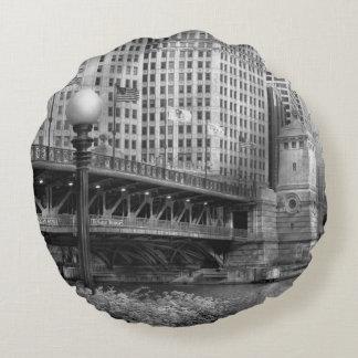 Chicago, IL - DuSable Bridge built in 1920  - BW Round Pillow