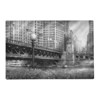 Chicago, IL - DuSable Bridge built in 1920  - BW Laminated Place Mat