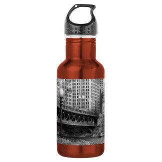 Chicago, IL - DuSable Bridge built in 1920  - BW 18oz Water Bottle