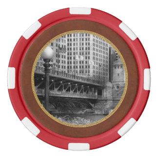 Chicago, IL - DuSable Bridge built in 1920  - BW Poker Chip Set