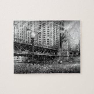 Chicago, IL - DuSable Bridge built in 1920  - BW Jigsaw Puzzle