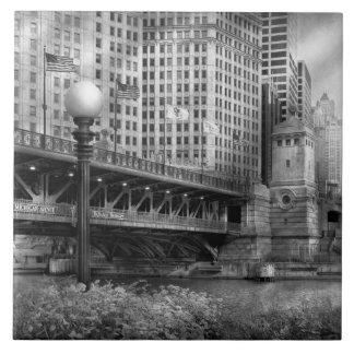 Chicago, IL - DuSable Bridge built in 1920  - BW Tile